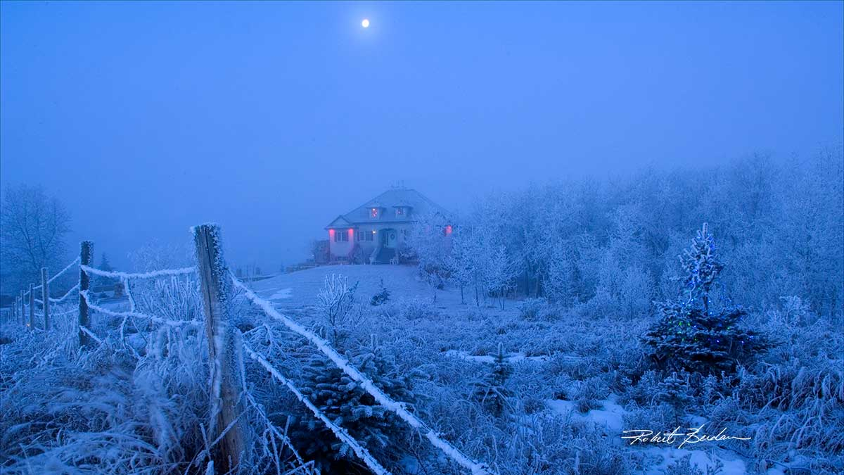 Home in winter with moon by Robert Berdan ©