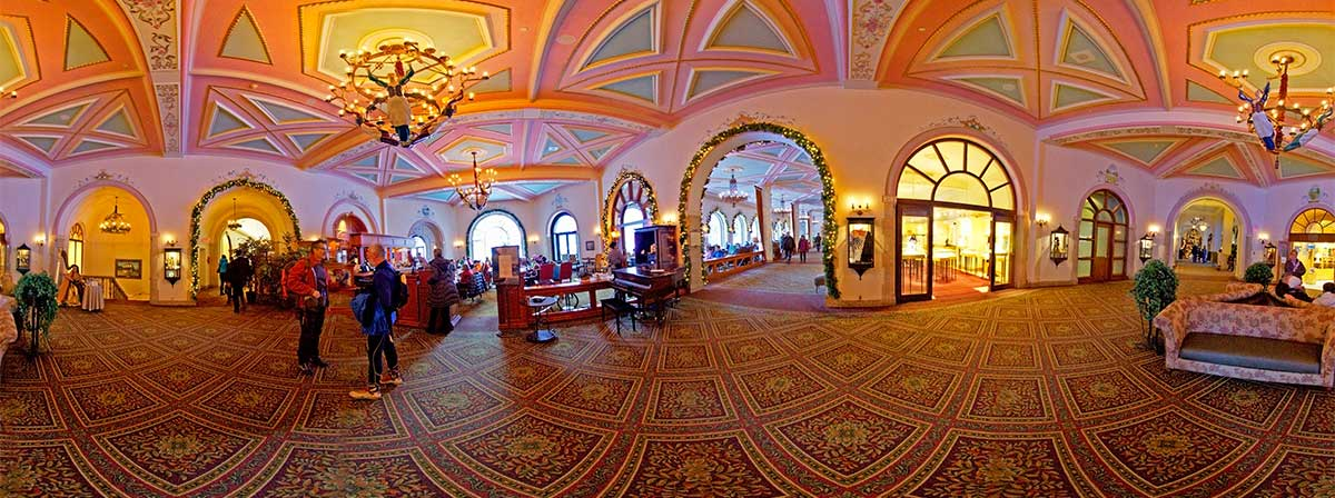 Chateau Lake Louise Panorama of the interior  by Robert Berdan