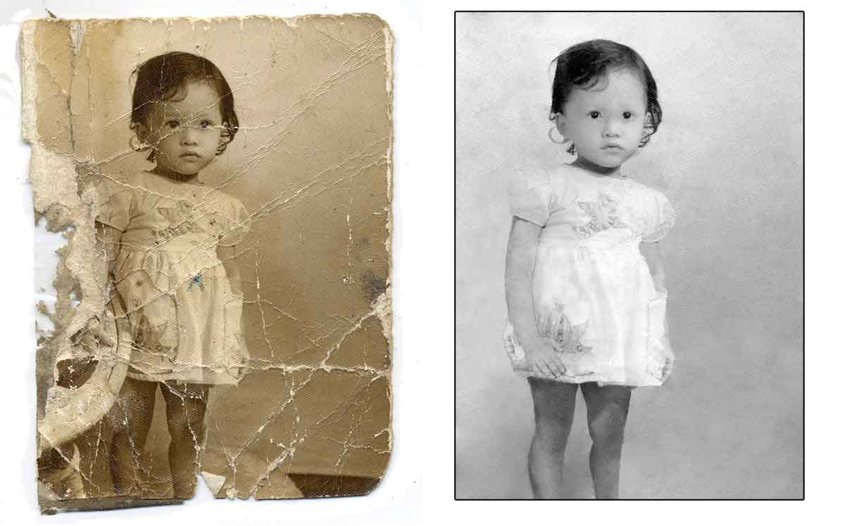 Digitally restored image of little girl with arm missing by Robert Berdan