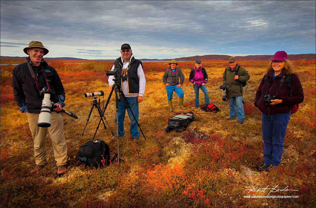 Photographers on the tundra at Peterson's Point Lake Lodge by Robert Berdan
